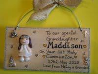 3d Personalised Communion Baptism Sign Boy or Girl Unique Keepsake Gift Plaque Handmade Any Phrasing